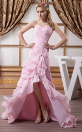 Sweetheart Appliqued Criss-Cross Front Slit and Dress With Tiers