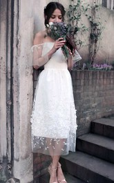 Off-The-Shoulder Tulle Lace Wedding Dress