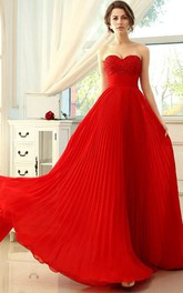 Bright A-Line Sweetheart Floor-Length Prom Dress