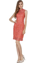 Sleeveless Short Lace Sheath Dress with Illusion Style