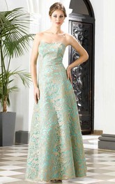 A-Line Floor-Length Strapless Sleeveless Lace Cape Backless Dress