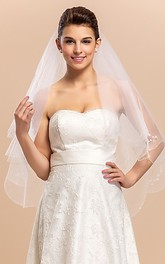 Chic Two-tier Fingertip Wedding Veil With Beaded Edge