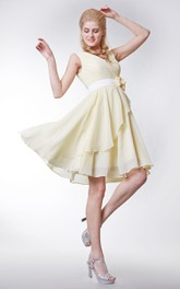 Cap-sleeved V-neck Knee Length Chiffon A-line Dress With Satin Sash