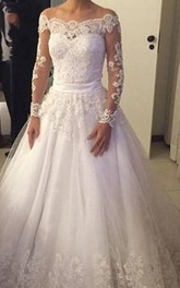 Gorgeous Off-shoulder Long-sleeved Lace Ball Gown Illusion Style