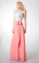 Sleeveless Ruched A-line Long Chiffon Dress