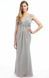 Cap-Sleeve Jeweled Floor-Length V-Neck Chiffon Prom Dress With Lace And Ruching