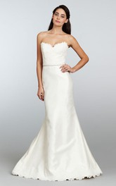 Exquisite Strapless Lace Bodice Mikado Gown With Beaded Waist