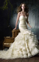 Elegant Pleated Bodice Ruffled Satin Organza Dress With Tiers