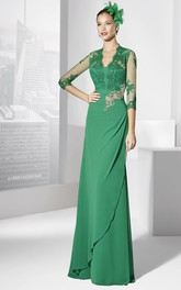 Sheath V-Neck Floor-Length Appliqued Half-Sleeve Jersey Prom Dress
