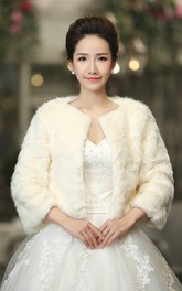 Bride Wedding Shawl Long-sleeved Fur Warm White Autumn And Winter Models Shawl