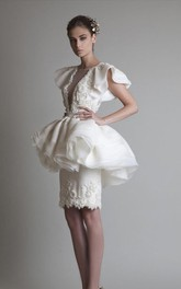Sheath Short Sleeve Organza Lace Jewel Button Knee-length Homecoming Dress