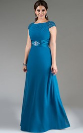 Beaded Cap Sleeve A-Line Long Mother Of The Bride Dress With Crystal Satin Sash