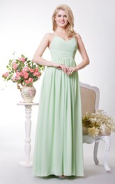 Sexy V-neck A-line Pleated Chiffon Gown