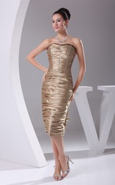 Sleeveless Knee-Length Dress With Overall Ruched Design