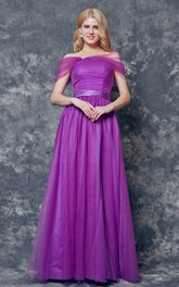 Noble Off-the-shoulder Long A-line Tulle Dress With Pleats