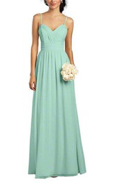 Spaghetti Straps Ruched Long Chiffon Dress