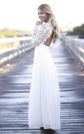 Simple Boho Illusion Lace Long Sleeve Jewel Tulle Dress With Open Back