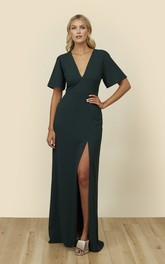 Front Split Bell Half Sleeve With A Keyhole Back Dress With Plunging Neckline