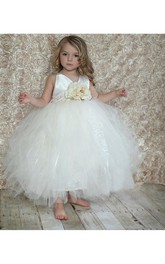V Neck Tiered Tulle Ball Gown With Flower Sash
