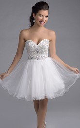 Mini Sweetheart A-Line Tulle Prom Dress With Rhinestone Embellishment