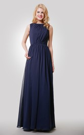 Sleeveless Chiffon Pleated Floor Length Dress With Keyhole Back