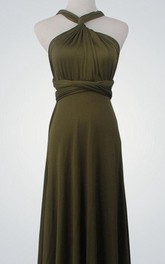 High Neck A-line Jersey Floor Length Dress With Back Cross Straps