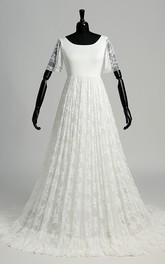 A-line Scoop Illusion Short Sleeve Floor-length Satin Lace Wedding Dress with Sweep/Brush Train