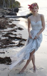Illusion Neckline Sheer Back Beach Lace Chiffon Wedding Dress