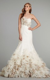 Gorgeous Strapless Floral Bodice Organza Dress With Illusion Corset Back
