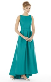 High-Low Sleeveless Jewel Satin Dress with Strap-Back