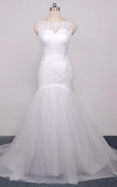 Trumpet Sweetheart Sleeveless Cap Tulle Lace Organza Dress