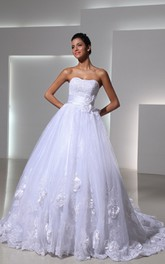 Royal Sweetheart Layered Lace Applique and English Net Wedding Ball Gown