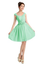 Cap-sleeve Pleated Chiffon Short Dress With Flowers