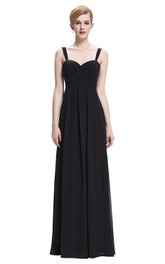 Sleeveless Floor-length Chiffon Gown with Criss Cross Detail