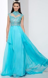 A-Line High Neck Crystal Backless Prom Dress