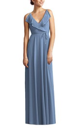 V-neck Wrap Bodice Chiffon Long Bridesmaid Dress with Sash