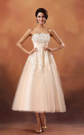 Strapless Cinched-Waisband Tea-Length Dress With Lace Appliques
