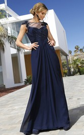 Elegant Bateau Chiffon Sheath Short Sleeve Long Formal Dress with Criss Cross and Ruching