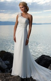 sheath One Shoulder Hand-made Flower Chiffon Sweep Train Wedding Dress