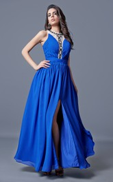 Sleeveless Long Chiffon A-line Dress With Side Split