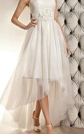 Sleeveless Strapless A-Line Tulle Dress With Open Back and Beaded Band