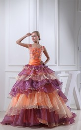 Mute-Color Square-Neck Tiers and Ball-Gown With Appliques