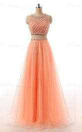 Two Pieces Long A-line Tulle Dress With Sequins