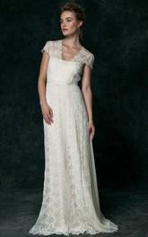 V-Neck Maxi Cap-Sleeve Lace Wedding Dress With V Back