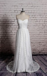 Sweetheart A-Line Lace Gown With Ruching and Pleats