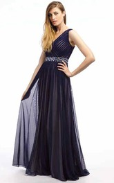 Long Jeweled Sleeveless V-Neck Tulle Prom Dress With Ruching