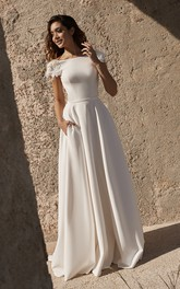 Deep V-back Short Sleeve Back Bateau Satin Wedding Dress With Flower Details And Straps
