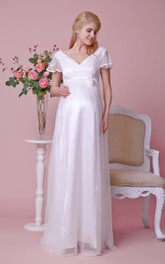Graceful V-neck Lace Floor Length Dress With Illusion Pleated Cap Sleeves