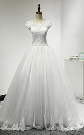 Cap Sleeve Jewel Neckline A-Line Tulle Dress With Lace Bodice and Lace Hemline