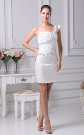 Body-Fitting Mini Satin Dress With Ruching and Beading